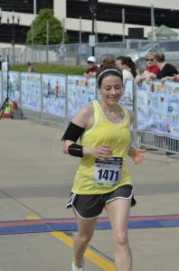 The author's happiest finish line photo, from May 2013's Run River City 25K.