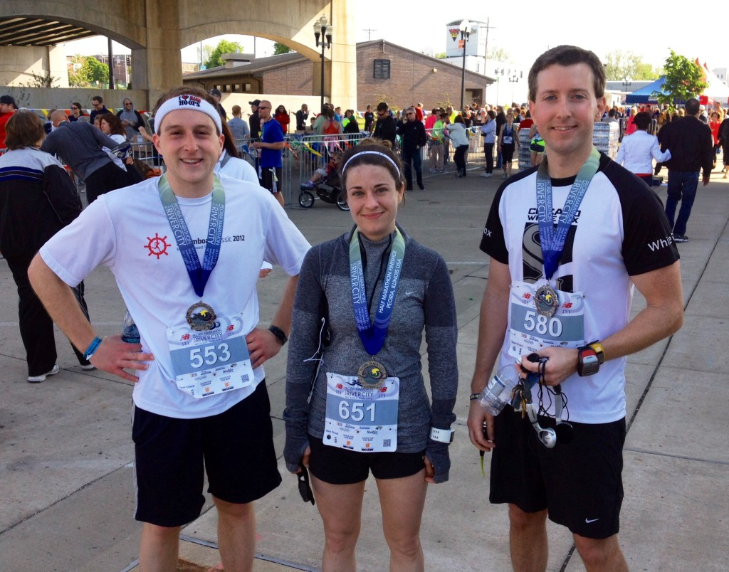The Peoria Marathon half in May, with Journal Star colleagues Thomas Bruch (left) and Shannon Countryman, who are both faster than me.